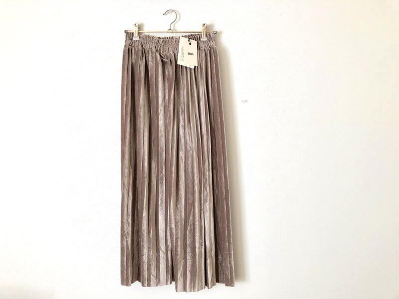 GRLグレイルのベロアプリーツスカート